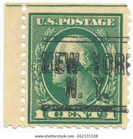 "UNITED STATES - CIRCA 1914: A stamp printed in the United States, shows the portrait of the George Washington (1732-1799) first President of the United States and postmark ""New York"", circa 1914 - stock photo"