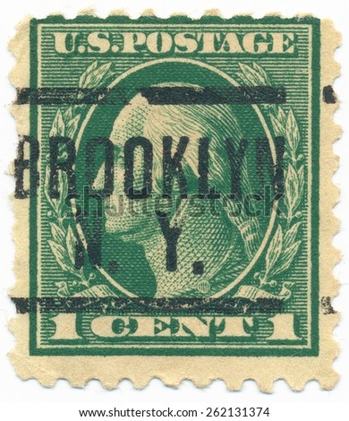 "UNITED STATES - CIRCA 1914: A stamp printed in the United States, shows the portrait of the George Washington (1732-1799) first President of the United States and postmark ""Brooklyn N.Y."", circa 1914 - stock photo"