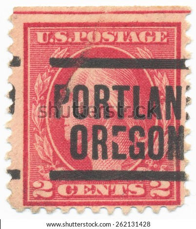 "UNITED STATES - CIRCA 1914: A stamp printed in the United States, shows the portrait of the George Washington (1732-1799) first President of the US and postmark ""Portland Oregon"", circa 1914 - stock photo"