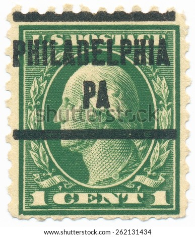 "UNITED STATES - CIRCA 1914: A stamp printed in the United States, shows the portrait of the George Washington (1732-1799) first President of the US and postmark ""Philadelphia PA"", circa 1914 - stock photo"