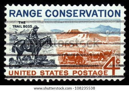UNITED STATES - CIRCA 1961: A stamp printed in the United States, shows The Trail Boss and Modern Range, Range Conservation, circa 1961 - stock photo