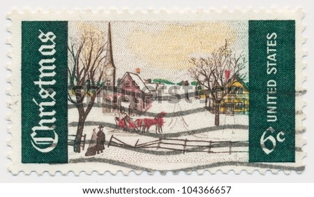 UNITED STATES - CIRCA 1969: A stamp printed in the United States, shows Winter Sunday in Norway, Maine, circa 1969