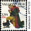 UNITED STATES - CIRCA 1977: A stamp printed in United States of America shows Washington at Valley Forge, circa 1977 - stock photo