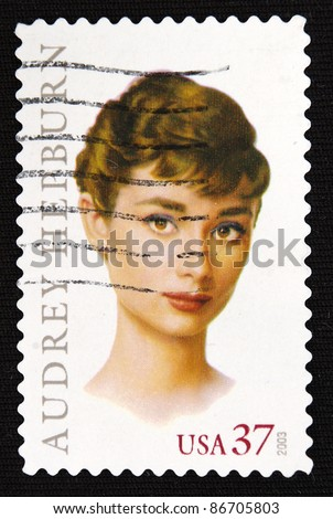 UNITED STATES- CIRCA 2003: A stamp printed in United States shows audrey hepburn, circa 2003 - stock photo