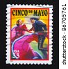 UNITED STATES- CIRCA 1999: A stamp printed in United States shows cinco de mayo, circa 1999 - stock photo