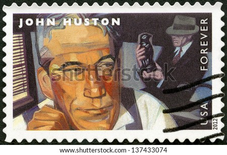 UNITED STATES - CIRCA 2012: A stamp printed in USA shows portrait of John Huston (1906-1987), scene from The Maltese Falcon, circa 2012 - stock photo