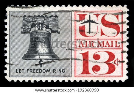 UNITED STATES - CIRCA 1959: A United States Airmail Postage Stamp depicting an image of the Liberty Bell, circa 1959. - stock photo