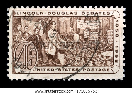UNITED STATES, CIRCA 1958: A United States Postage Stamp depicting an illustration from one of the debates between Abraham Lincoln and Senator Stephen Douglas in 1858, circa 1958.