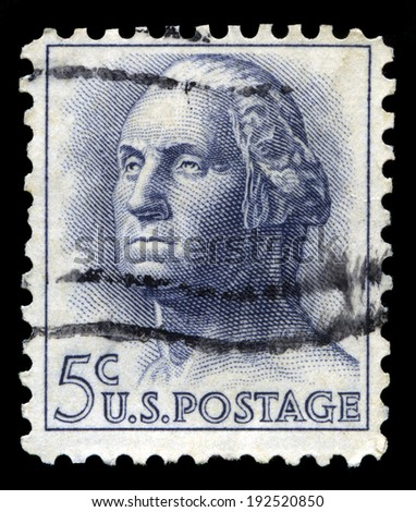 UNITED STATES - CIRCA 1956: A United States Postage Stamp depicting an image of George Washington - the 1st President of the United States of America, circa 1956.