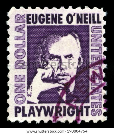 UNITED STATES, CIRCA 1968: A United States Postage Stamp depicting an image of Irish-American Playwright Eugene O'Neill, circa 1968.
