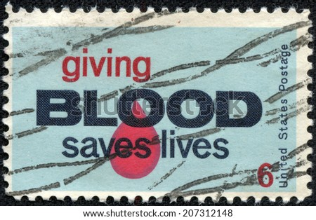 UNITED STATES, CIRCA 1970: A United States Postage Stamp promoting Blood Donation, circa 1970.