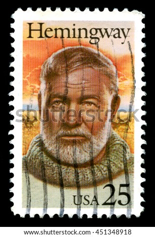 UNITED STATES, CIRCA 1989: A used United States Postage Stamp depicting an image of American author and Journalist Ernest Hemmingway, circa 1989.