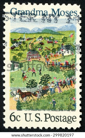 UNITED STATES - CIRCA 1969: post stamp printed in USA (US) shows painting July Fourth by Grandma Moses (Anna Mary Robertson Moses); American folklore; Scott 1370 A792 6c; circa 1969