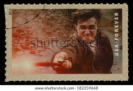UNITED STATES - CIRCA 2013: postage stamp printed in USA showing an image of Harry Potter a Harry Potter main character, circa 2013.  - stock photo