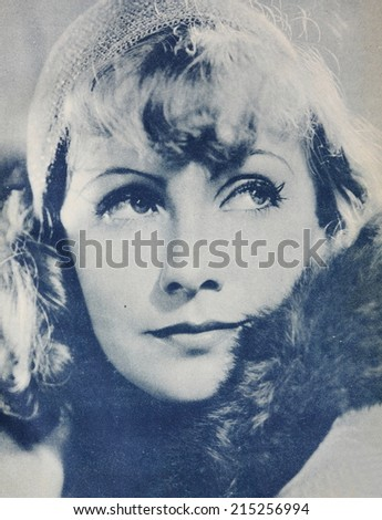 UNITED STATES - Circa 1928: Reproduction of old photography of famous actress Greta Garbo, in United States, circa 1928. - stock photo