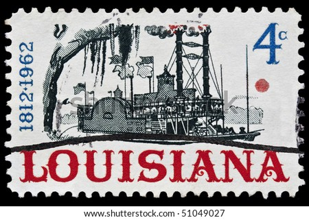 UNITED STATES - CIRCA 1960's : A stamp printed in United States.  Louisiana Statehood. Riverboat on the Mississippi  river was. United States - CIRCA 1960's