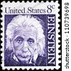 UNITED STATES - CIRCA 1958:  stamp printed by the United States, to honor famous scientist Albert Einstein, circa 1958 - stock photo