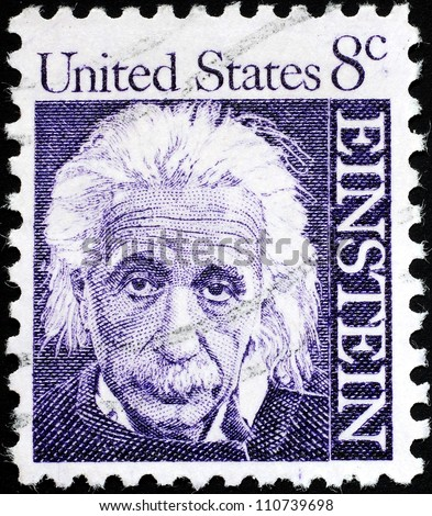 UNITED STATES - CIRCA 1958:  stamp printed by the United States, to honor famous scientist Albert Einstein, circa 1958