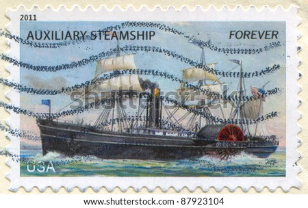 UNITED STATES - CIRCA 2011: stamp printed by Umited States, shows Ancient Steamship, circa 2011
