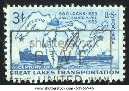 UNITED STATES - CIRCA 1955: Stamp printed by United states, shows Map of Great Lakes and Two Steamers, circa 1955