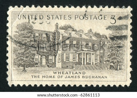UNITED STATES - CIRCA 1956: stamp printed by United states, shows President Buchanan?s Home, circa 1956