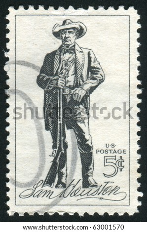 UNITED STATES - CIRCA 1963: stamp printed by United states, shows Sam Houston, circa 1963