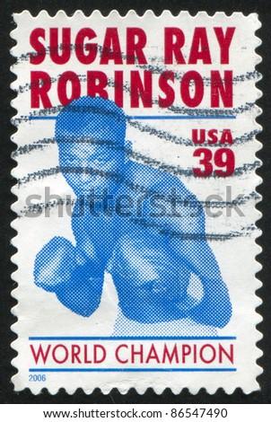 UNITED STATES - CIRCA 2006: stamp printed by United states, shows Sugar Ray Robinson, circa 2006 - stock photo