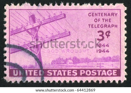 UNITED STATES - CIRCA 1944: stamp printed by United states, shows Telegraph Wires & the First Transmitted Words 'What Hath God Wrought', circa 1944