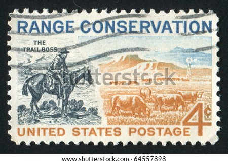 UNITED STATES - CIRCA 1961: stamp printed by United states, shows The Trail Boss and Modern Range, circa 1961