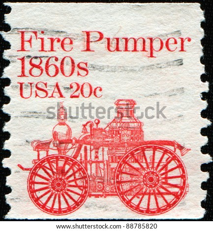 UNITED STATES - CIRCA 1981: stamp printed in United States of America shows retro fire-pumper, circa 1981 - stock photo