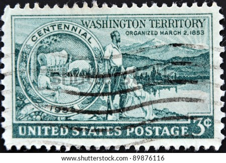 UNITED STATES - CIRCA 1953: stamp printed in United states, shows Medallion Pioneers and Washington Scene, circa 1953 - stock photo