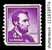 "UNITED STATES - CIRCA 1954: stamp printed in United states (USA), shows a portrait of USA President Abraham Lincoln, with the same inscription, from the series ""Presidents issue"", circa 1954 - stock photo"