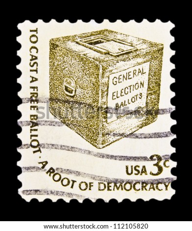 "UNITED STATES - CIRCA 1975: stamp printed in United states (USA), shows Early Ballot Box, with inscription ""To cast a free ballot - a root of democracy"", from the series ""Americana issue"" circa 1975 - stock photo"