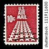 """UNITED STATES - CIRCA 1968: stamp printed in United states (USA), shows Fifty Stars as a runway, without inscription, from the series """"Air Mail"""", circa 1968 - stock photo"""