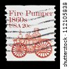 "UNITED STATES - CIRCA 1981: stamp printed in United states (USA), shows Fire pumper 1860s, with the same inscription, from the series ""Transportation Coils"" circa 1981 - stock photo"