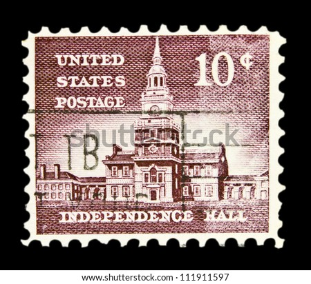"UNITED STATES - CIRCA 1954: stamp printed in United states (USA), shows Independence Hall, with the same inscription, from the series ""Liberty Issue"" circa 1954"