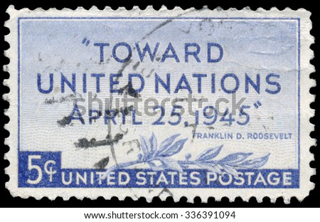 UNITED STATES, CIRCA 1945: Stamp printed in USA commemorating the creation of the United Nations, circa 1945.