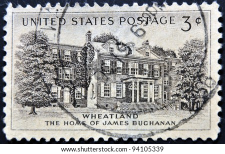 UNITED STATES - CIRCA 1956: stamp printed in USA shows President Buchanana´s Home, circa 1956