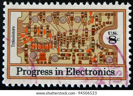 UNITED STATES - CIRCA 1973: stamp printed in USA shows transistors and printed circuit board , circa 1973