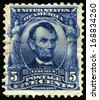 UNITED STATES - CIRCA 1902: Vintage US Postage Stamp celebrating Abraham Lincoln, the sixteenth President of the United States of America, circa 1902. - stock