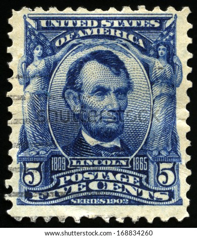UNITED STATES - CIRCA 1902: Vintage US Postage Stamp celebrating Abraham Lincoln, the sixteenth President of the United States of America, circa 1902. - stock photo