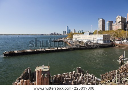 United States coast guard building in New York and Jersey City - stock photo