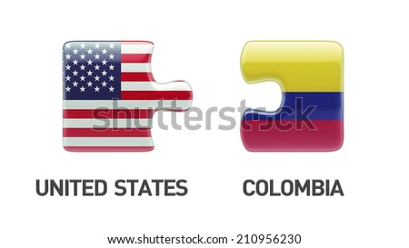 United States Colombia High Resolution Puzzle Concept - stock photo