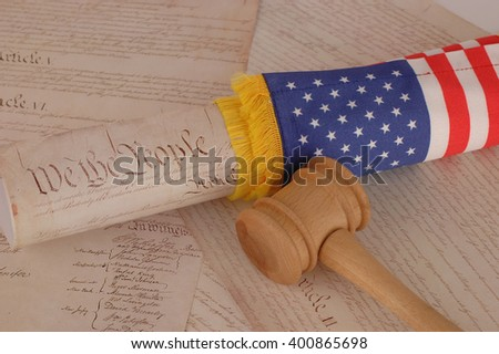 United States Constitution, gavel and american flag - stock photo