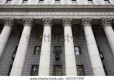 United States Court House. Courthouse facade with columns, lower Manhattan, New York
