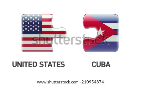 United States Cuba High Resolution Puzzle Concept - stock photo