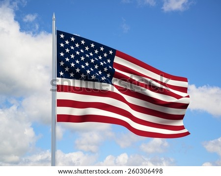 united states  3d flag floating in the wind with a blue sky in the background - stock photo