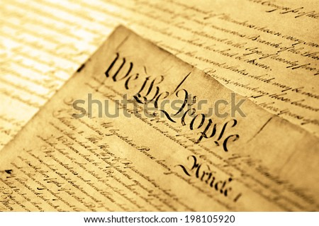United States Declaration of Independence, SOFT FOCUS - stock photo