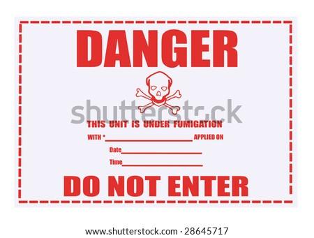 United States Department of Transportation danger fumigation warning label isolated on white - stock photo