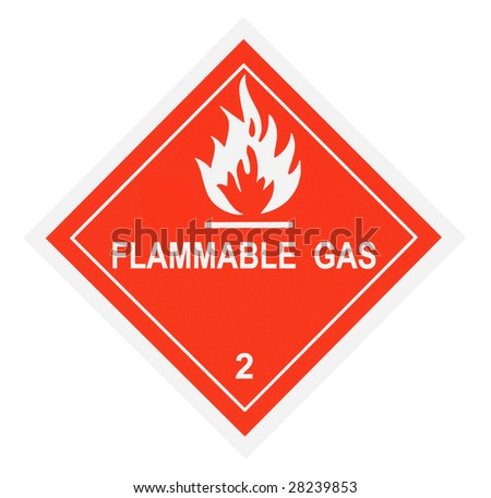 United States Department of Transportation flammable gas warning label isolated on white - stock photo